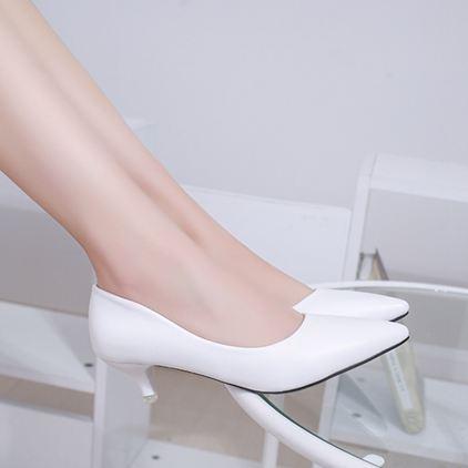 低跟鞋白色甜美低跟高跟鞋尖頭淺口根鞋三厘米小碼32-34大碼40-42女 【老闆大折扣】