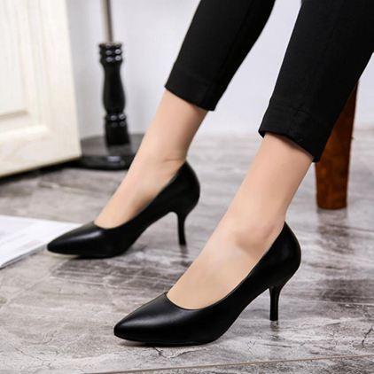 中跟鞋云穎 百麗單鞋中跟職業工作鞋女黑色高跟鞋正裝皮鞋女鞋小碼32 33  【老闆大折扣】