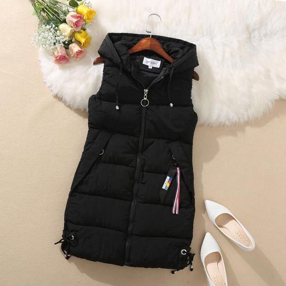 馬甲外套新款韓版女裝羽絨棉馬甲中長款大碼修身無袖棉衣馬夾背心外套   艾維朵