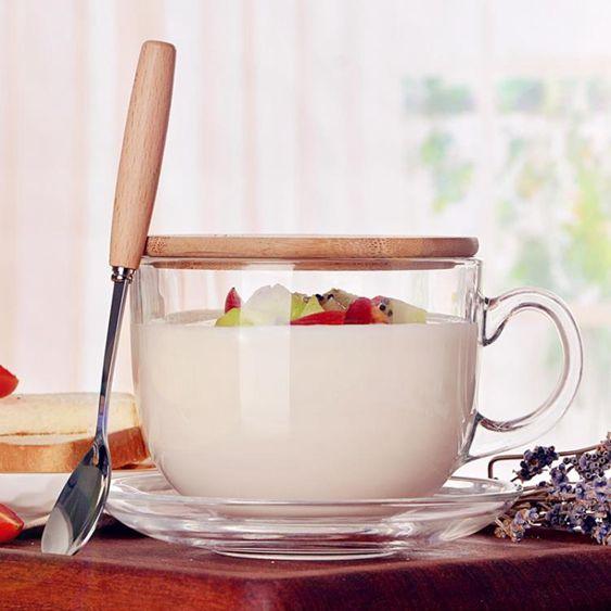 大容量玻璃馬克杯燕麥杯子日式帶蓋勺早餐杯可微波牛奶  瑪奇哈朵