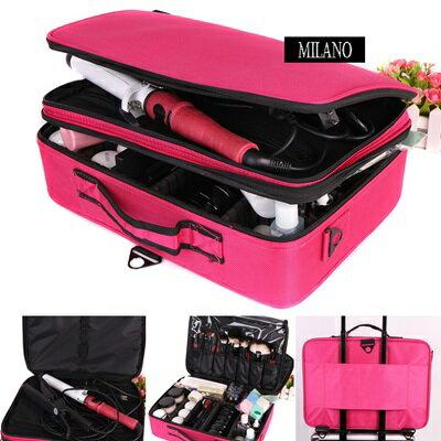 化妝箱 隨身收納盒~防水牛津布大容量美甲美妝 工具箱2色73d38~ ~~米蘭 ~ ~