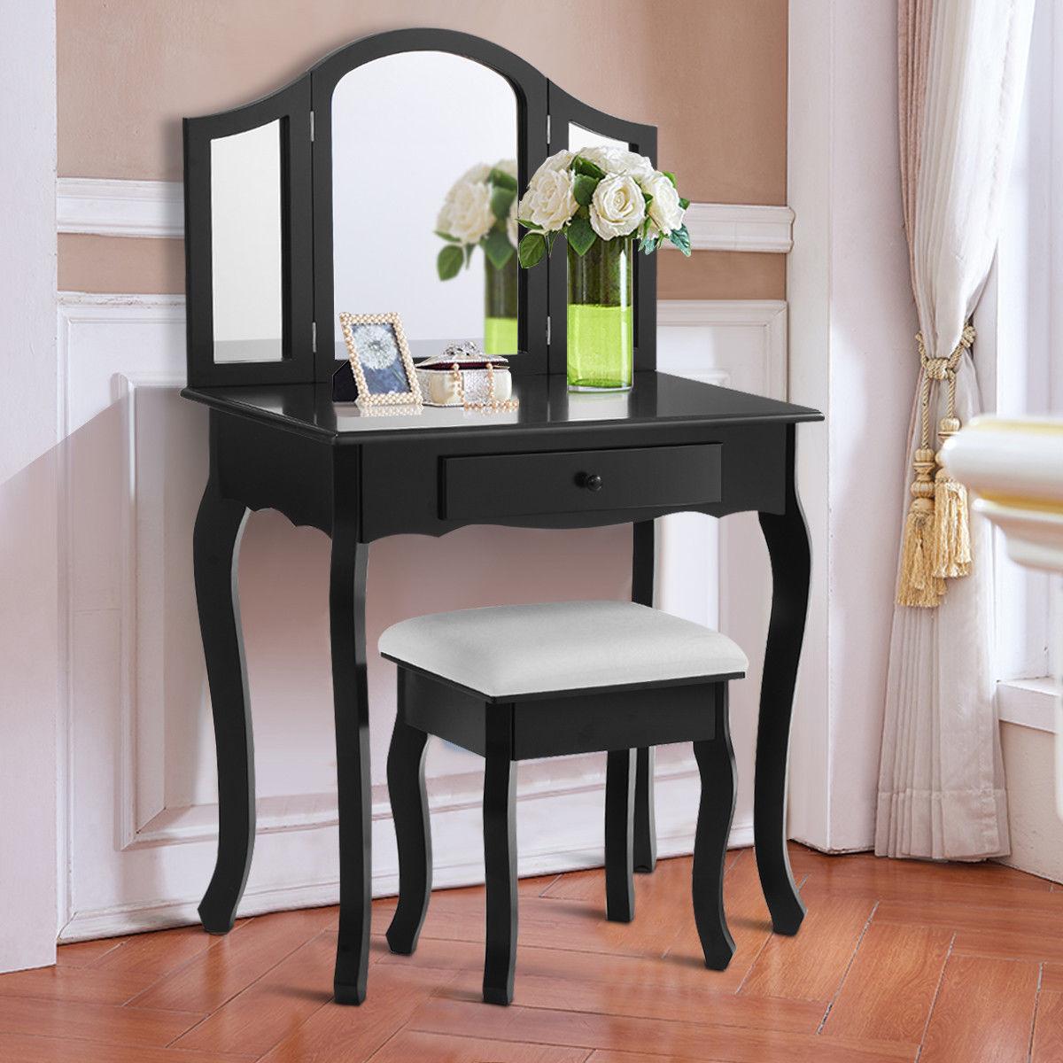 Costway Black Tri Folding Mirror Vanity Makeup Table Set Bathroom W Stool Drawers