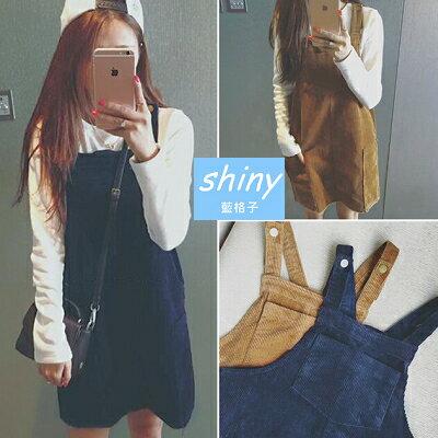 【V0370】shiny藍格子-學院穿搭.修身顯瘦百搭燈芯絨吊帶連身裙