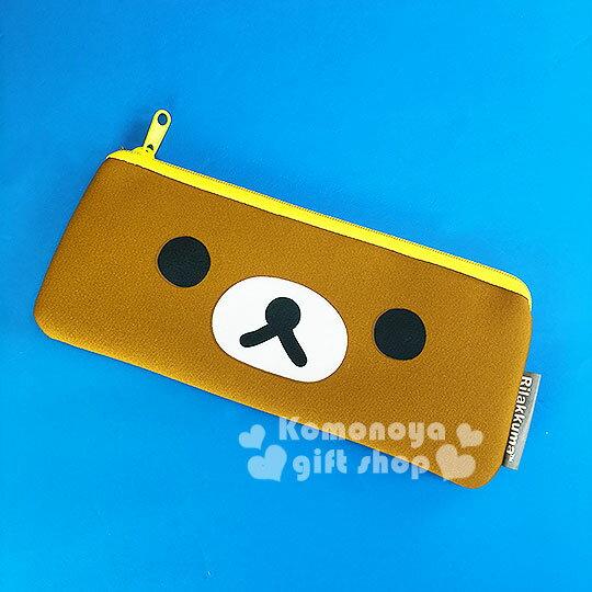 〔小禮堂〕懶懶熊 扁平拉鍊筆袋《棕.大臉》潛水布材質