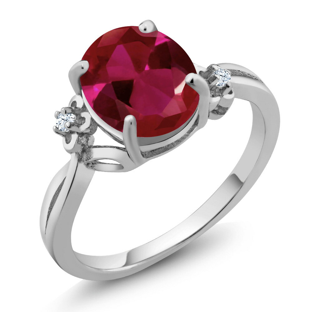 2.53 Ct Oval Red Created Ruby White Created Sapphire 18K White Gold Ring 0