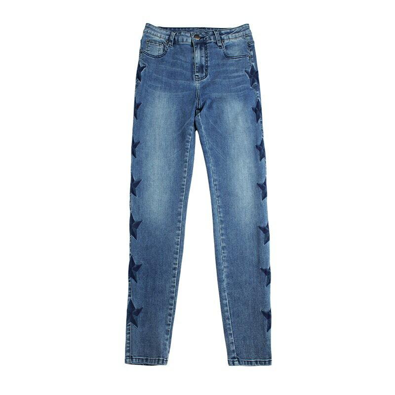 牛仔褲丹寧小腳褲-側邊刺繡拼色星星女長褲73wx21【獨家進口】【米蘭精品】 1