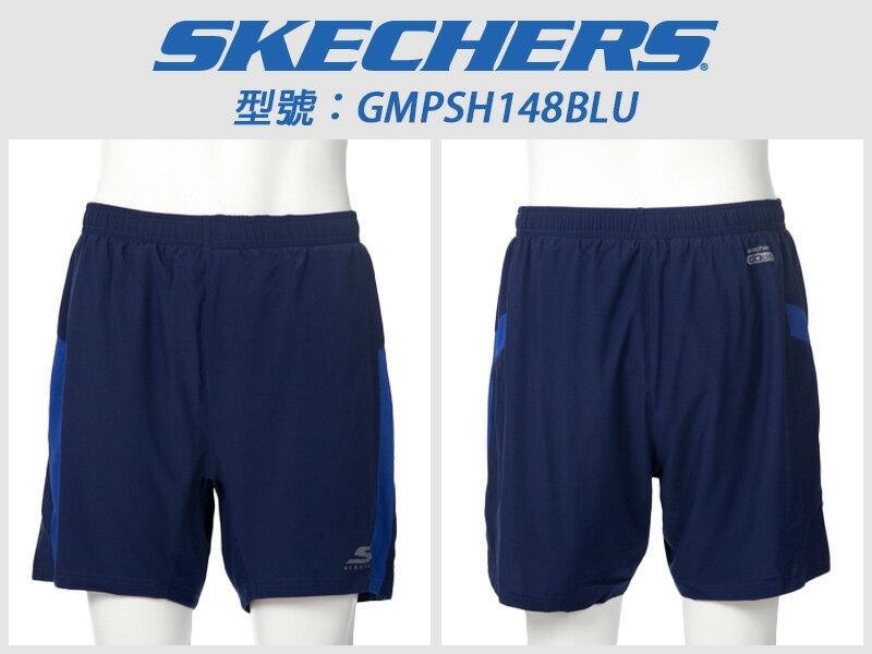 Shoestw【GMPSH148BLU】SKECHERS 短褲 透氣排汗 深藍 慢跑短褲 男生