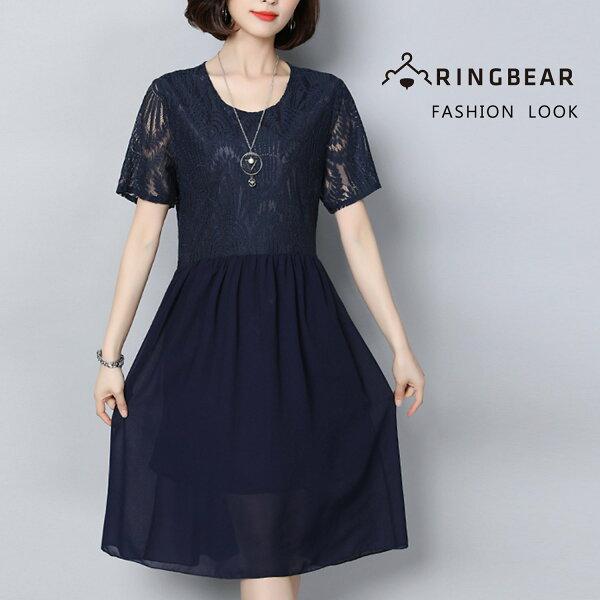 連衣裙--優雅飄逸浪漫空花蕾絲拼接雪紡A字修身圓領短袖洋裝(藍M-3L)-D513眼圈熊中大尺碼