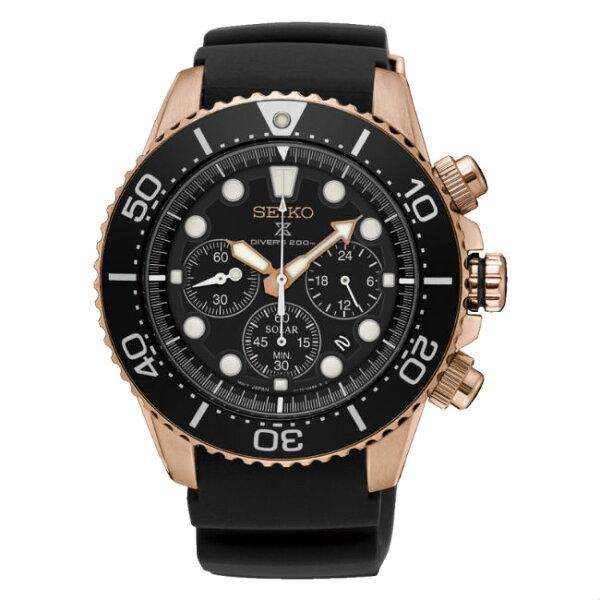 大高雄鐘錶城:Seiko精工錶V175-0AD0K(SSC618P1)PROSPEX太陽能計時時尚潛水腕錶黑面43.5mm