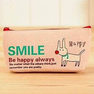 =優生活=韓國文具 動物輕鬆派筆袋 可愛帆布鉛筆袋 筆袋 文具收納
