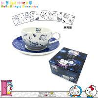 小叮噹週邊商品推薦凱蒂貓×哆啦A夢咖啡杯盤組 景品 碟+杯 咖啡杯 下午茶 陶瓷 日本進口正版 1609010003