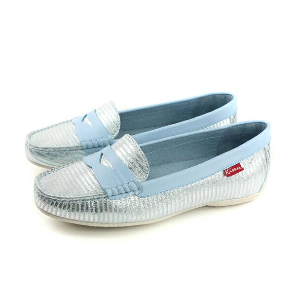 Kimo懶人鞋休閒鞋平底鞋淺藍色條紋女鞋K18SF117066no756