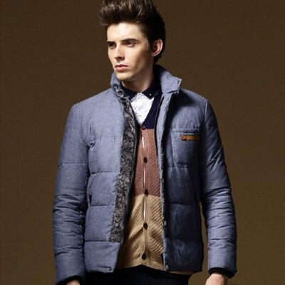 ~羽絨外套立領夾克~ 白鴨絨保暖男裝3色73ij41~ ~~米蘭 ~