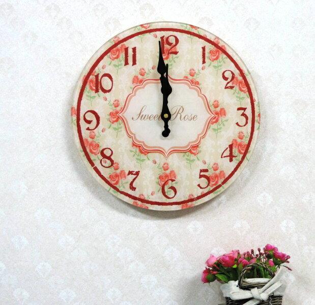 ◤彩虹森林◥《圓形B》強化玻璃掛鐘 鄉村掛鐘 玫瑰掛鐘 圓形掛鐘 臥房 時鐘