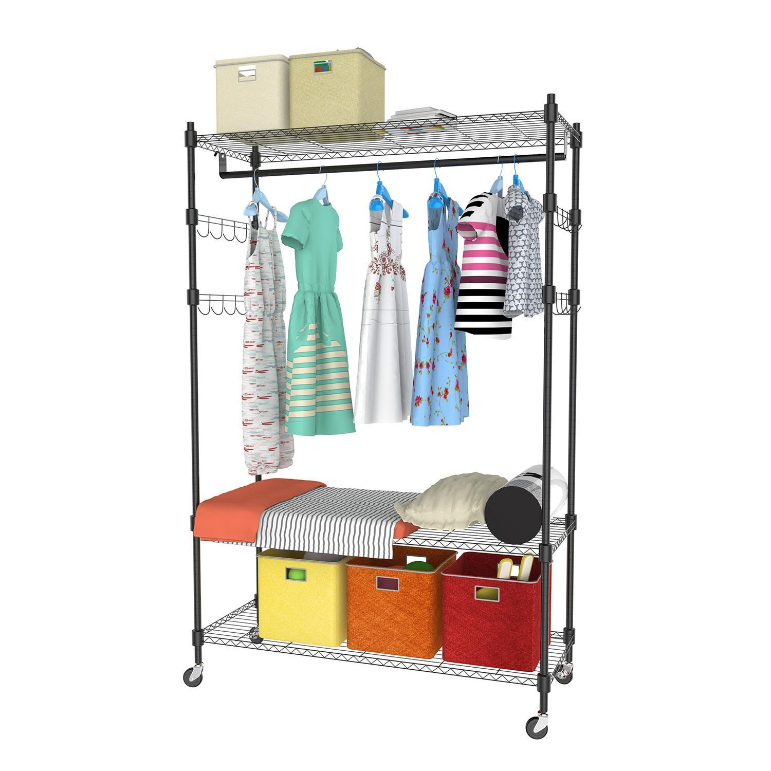 Portable 3-Tier Wire Shelving Clothes Shelf Garment Rack with Side Hooks and  Wheels 3