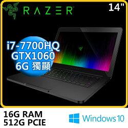 Razer 雷蛇 Blade BLADE-B6 RZ09-01953T72-R3T1 14吋 電競筆電  14/i7-7700HQ/16G DDR4/512G PCIE SSD/GTX1060 6G/WIN10