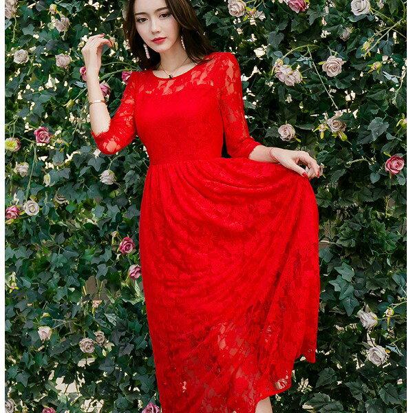 灰姑娘^~3970~CYN^~中大 ^~圓領性感花朵蕾絲透視長裙擺長袖洋裝^~^~春裝款式