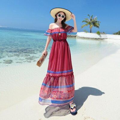 波希米亞長裙-優雅一字領沙灘渡假連衣裙73sg26【獨家進口】【米蘭精品】