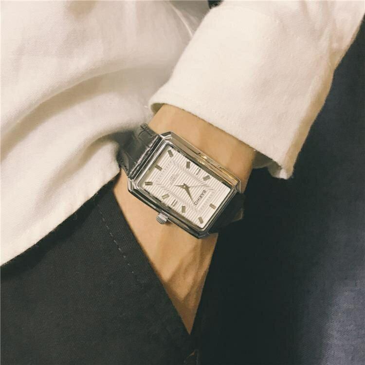 手錶男學生潮流大氣方形復古皮帶休閒氣質男表  初語生活  秋冬新品特惠