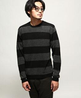 圓領毛衣01黑橫條紋