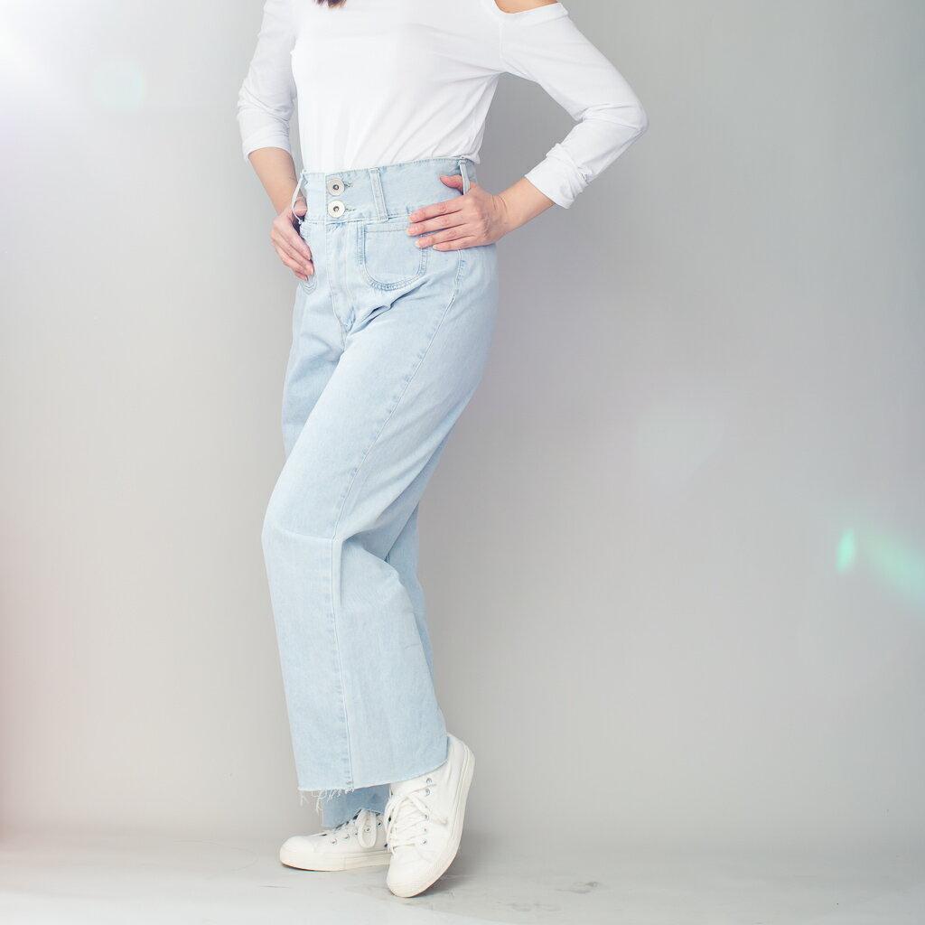 Lady M 復古牛仔口袋寬褲