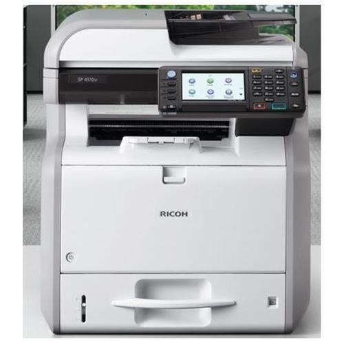 "Ricoh Aficio SP 4510SF LED Multifunction Printer - Monochrome - Plain Paper Print - Desktop - Copier/Fax/Printer/Scanner - 42 ppm Mono Print - 1200 x 1200 dpi Print - 42 cpm Mono Copy - 4.3"" LCD Touchscreen - 600 dpi Optical Scan - Automatic Duplex Print"