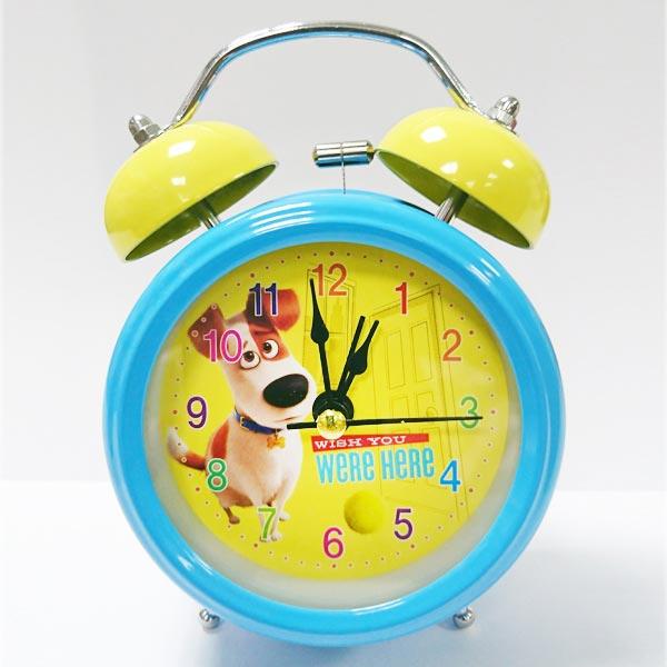 sightme看過來購物城:藍色款【日本進口正版】寵物當家復古鬧鐘造型鐘指針時鐘燈光設計環球影城UNIVERSAL-901062