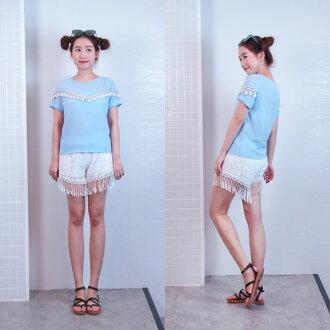 流蘇雪紡短袖上衣 民族風波希米亞 韓國連線 藍色 Anna S.