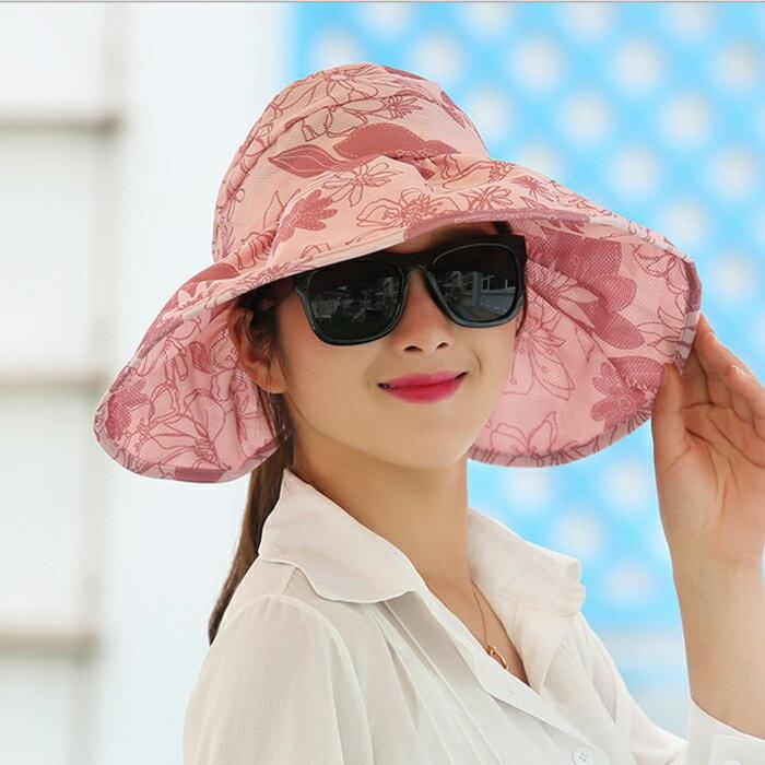糖衣子輕鬆購【DZ0092】夏天潮流防曬遮陽帽沙灘帽大沿帽空頂戶外防紫外線遮臉太陽帽
