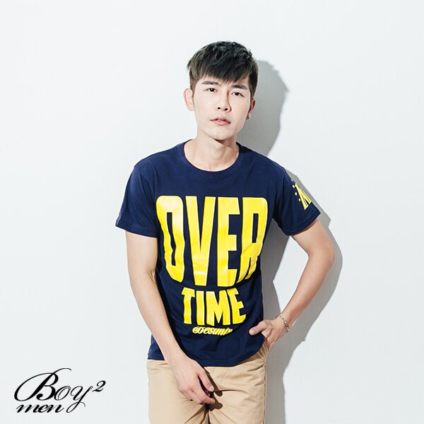 ☆BOY-2☆【ND5455】短袖T恤韓版型男潮流配色OVER TIME印花短T 3