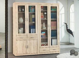 【尚品傢俱】655-92 夏克拉2.7尺橡木色中抽書櫃/開門書櫃/書櫥收納櫃/玻璃櫃