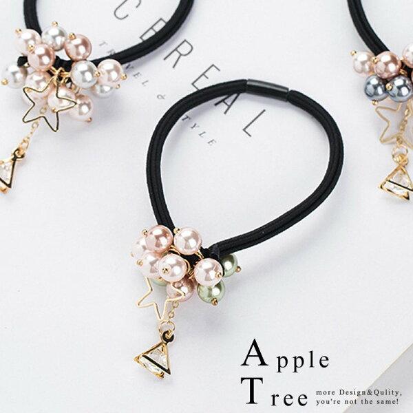 蘋果樹AppleTree:AT日韓-三角鑽垂墜星星串珠髮圈3色【712034】