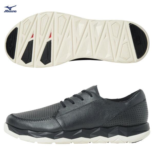 B1GE184190(黑)WAVESNWALKCLASSIC舒適袋鼠皮革男健走鞋【美津濃MIZUNO】