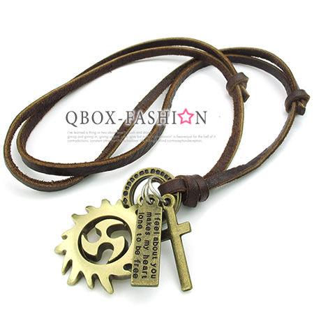 《 QBOX 》FASHION 飾品【 W10023490】精緻個性復古環扣風火輪合金皮革墬子項鍊