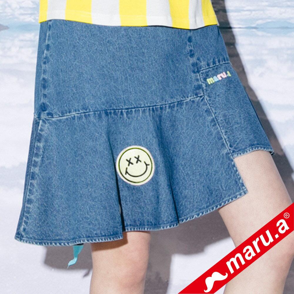 【maru.a】斜邊魚尾貼布繡牛仔裙(2色)8326113 2