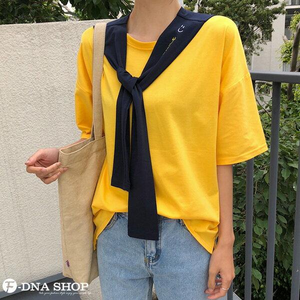 F-DNA★刺繡微笑可拆兩件式披肩圓領短袖上衣T恤(2色-M-2XL)【ET12690】 8