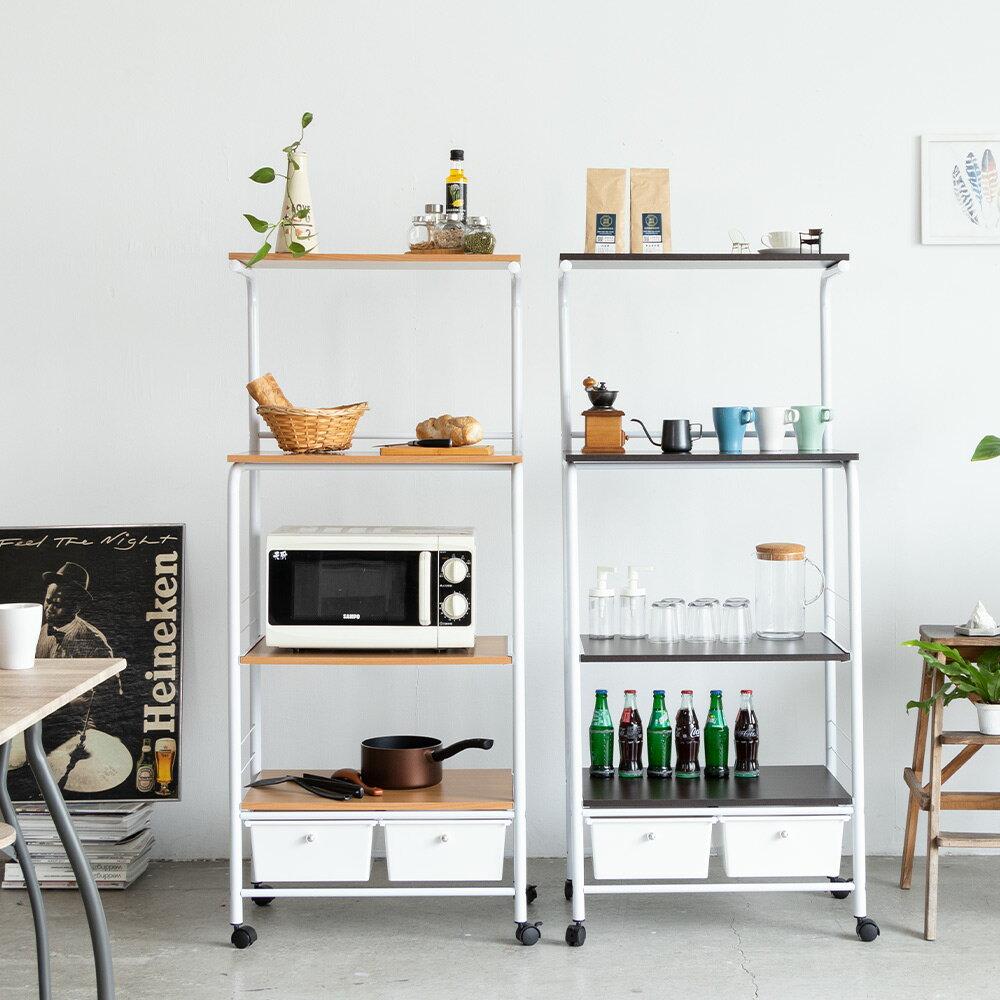 收納架/電器架/廚房架/微波爐架 居家移動式廚房四層二抽多功能置物架【TBA001】