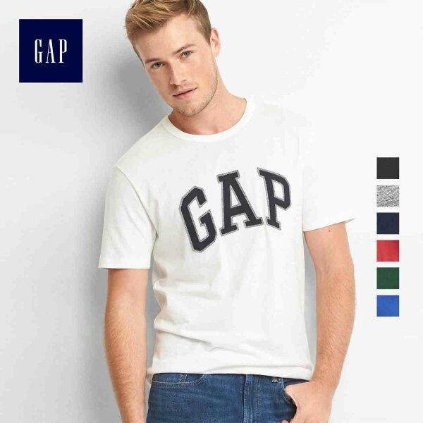 GAP男款基本款經典立體LOGO純棉短袖圓領T恤