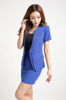 811款短袖西裝外套(藍色)