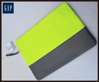 《十九號二手屋》全新香港購回 GAP 荔枝紋牛皮撞色手拿包/可放iPad/平板【螢光黃/大象灰】