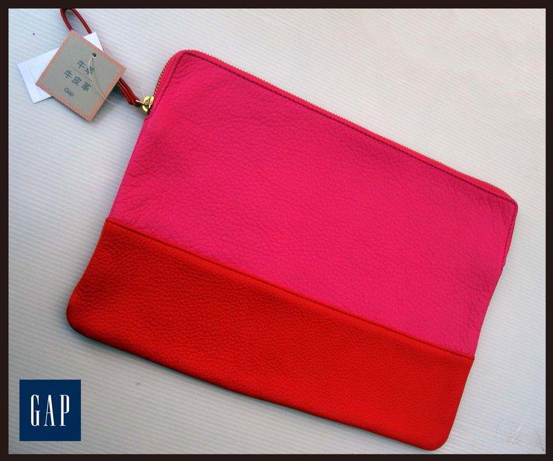 《十九號二手屋》全新香港購回 GAP 荔枝紋牛皮撞色手拿包/可放iPad/平板【桃紅/紅】