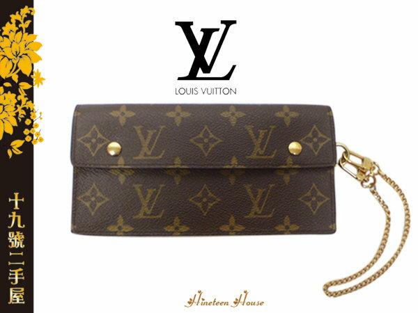 《十九號二手屋》全新Louis Vuitton LV Monogram 原花/老花 金色手腕鍊 金鏈長夾/手拿包 M58008