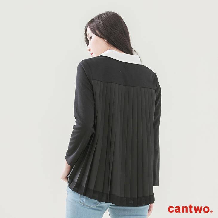 cantwo異素材拼接襯衫領長袖上衣(共二色) 3