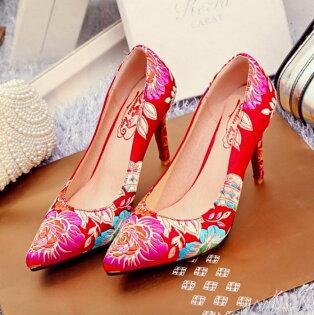 Pyf♥中國風繡花細跟紅鞋新娘鞋伴娘鞋婚鞋43大尺碼女鞋