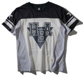 50%OFF【F011061C】拼色拼布HBA圖案logo男女可穿短T-短袖T襯衫運動明星款GDEXO