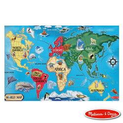 美國瑪莉莎 Melissa & Doug 大型地板拼圖世界地圖33片