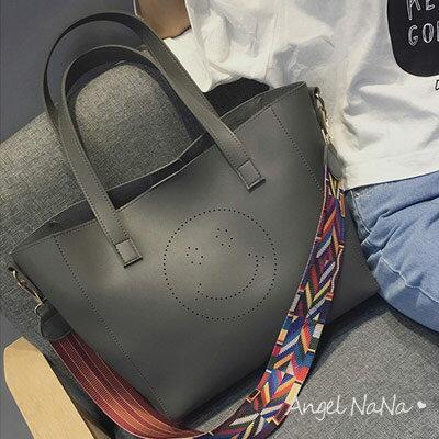 托特包-鏤空笑臉彩色織帶大容量2way子母包側背包 AngelNaNa 【BA0231】