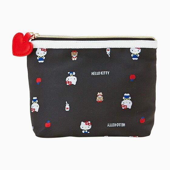 【真愛日本】17083000051 方型提花織物面紙化妝包-KT黑+ABC 三麗鷗 Hello Kitty 凱蒂貓 收納包 面紙包