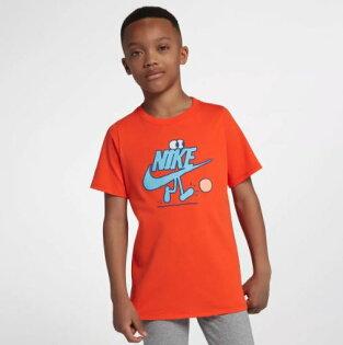 NIKESportswear童裝大童男童短袖休閒舒適橘紅水藍【運動世界】913097-817
