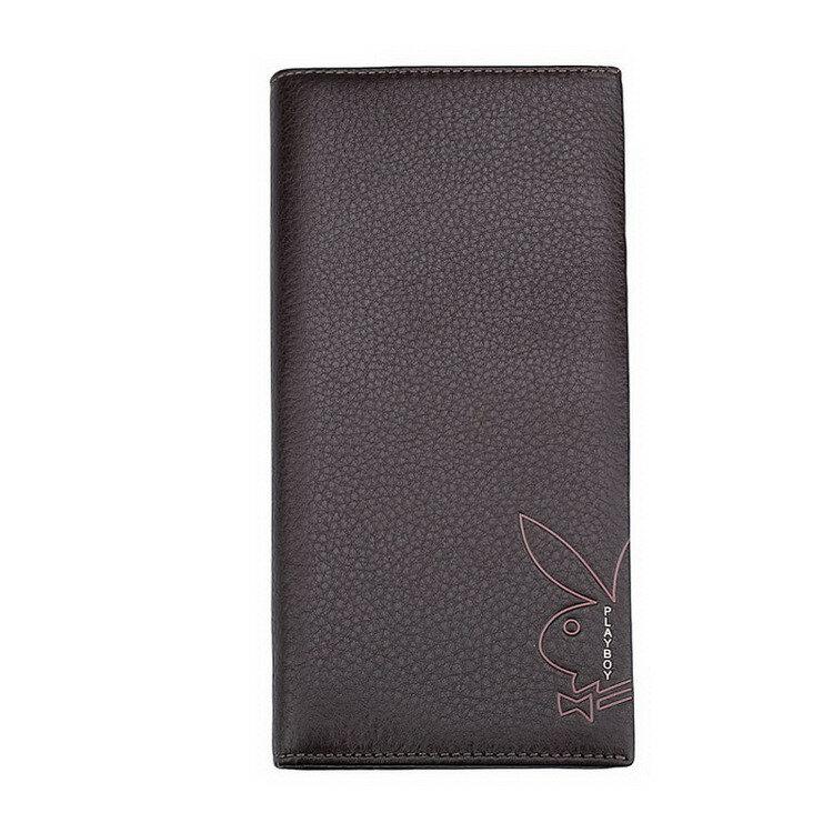 現貨|PLAYBOY 荔枝紋真皮長夾錢包 [A11-017]|男皮夾|咖啡色|橘子包舖